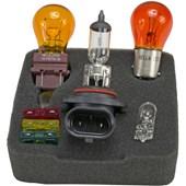 CONJUNTO LAMPADAS E FUSIVEIS PARA REPOSICAO 12V 9006 / 1157A(P21 / 5W) / 3757A / 2825(W5W) / FUSÍVEIS:10A,20A,30A - HELLA