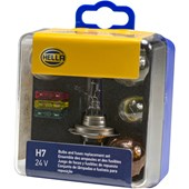 CONJUNTO LAMPADAS E FUSIVEIS PARA REPOSICAO 24V H7 24V / 7537(P21 / 5W) / 7511(P21W) / 5627 / 7510LTS(P21W) - HELLA