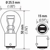 LAMPADA MINIATURA 1034 2 POLOS P21/5W S8 24V 21 / 5W BAY15D - HELLA