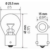 LAMPADA MINIATURA 1141 1POLO P21W AMBAR S8 12V 21W BA15S - HELLA