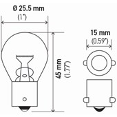 LAMPADA MINIATURA 1141 1POLO S8 24V 21W BA15S - HELLA