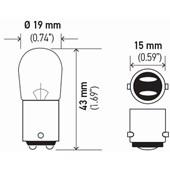 LAMPADA MINIATURA B6 12V 12 / 12W BA15D - HELLA